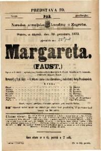 Margareta / Faust Opera u 5 činah / Napisao polag Goethe-a Julio Barbier i M. Carre / T. Gounoda