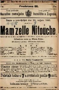 Mam'zelle Nitouche Opereta u 3 čina (4 slika) / uglasbio Herve