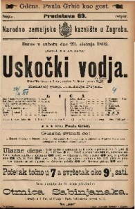 Uskočki vodja Historička drama u 5 čina / napisao V. Sejour