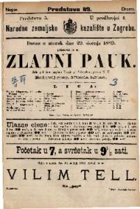 Zlatni pauk Šala u 4 čina / napisao Franjo pl. Schönthan