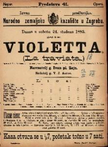 Violetta Opera u 3 čina / Glasba od J. Verdia  =  La traviata