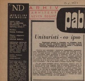 Unitaristi – eo ipso : Nedjeljna Dalmacija