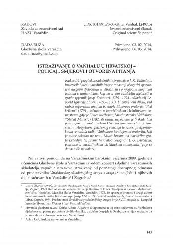 Istraživanje o Vaňhalu u Hrvatskoj - poticaji, smjerovi i otvorena pitanja : Radovi Zavoda za znanstveni rad Varaždin