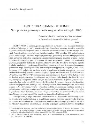 Demonstracijama - otjerani : novi podaci o gostovanju mađarskog kazališta u Osijeku 1895. : Krležini dani u Osijeku