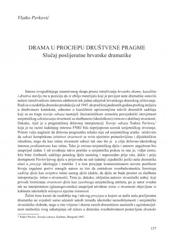 Drama u procjepu društvene pragme : slučaj poslijeratne hrvatske dramatike : Krležini dani u Osijeku