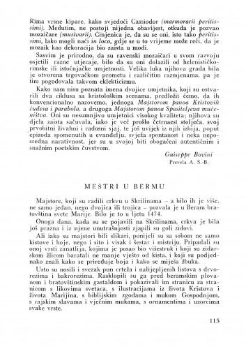 Meštri u Bermu : Bulletin Instituta za likovne umjetnosti Jugoslavenske akademije znanosti i umjetnosti