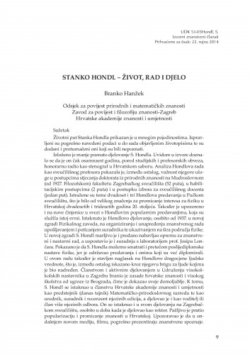 Stanko Hondl - život, rad i djelo : Rasprave i građa za povijest znanosti