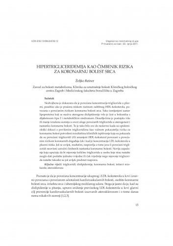 Hipertrigliceridemija kao čimbenik rizika za koronarnu bolest srca : Posebna izdanja HAZU. Prilozi za strategiju hrvatskog razvoja
