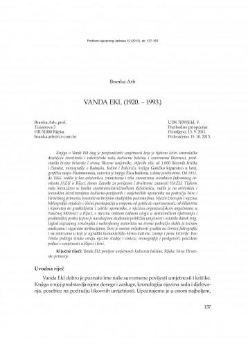 Vanda Ekl (1920. - 1993.) : Problemi sjevernog Jadrana