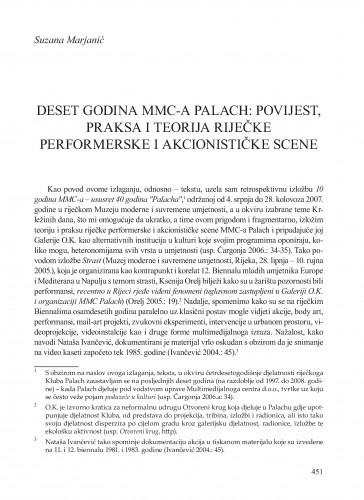 Deset godina MMC-a Palach: povijest, praksa i teorija riječke performerske i akcionističke scene : Krležini dani u Osijeku