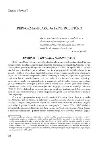 Performans, akcija i ono političko : Krležini dani u Osijeku