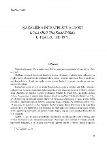 Kazališna intertekstualnost Kola oko Shakespearea u Teatru ITD 1971. : Krležini dani u Osijeku