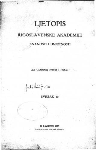 Za godinu 1925/26 i 1926-27. Sv. 40 : Ljetopis