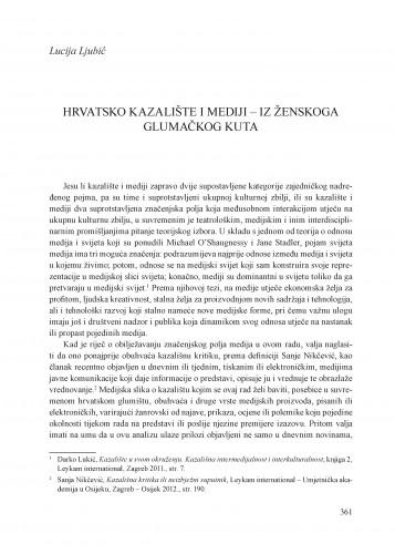 Hrvatsko kazalište i mediji - iz ženskoga glumačkog kuta : Krležini dani u Osijeku