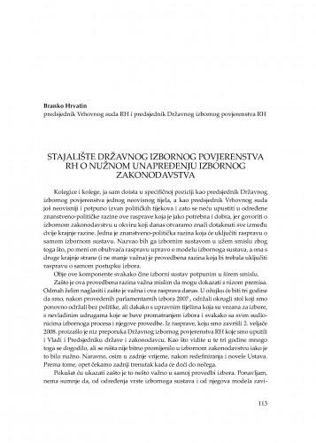 Stajalište državnog izbornog povjerenstva RH o nužnom unapređenju izbornog zakonodavstva : [uvodno izlaganje] : Modernizacija prava