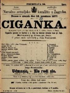 Ciganka romantična opera u 3 čina / glasba od M. V. Balfe-a