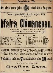 Affaira Clemenceau Igrokaz u 5 čina / od A. Dumasa i A. d. Artoisa