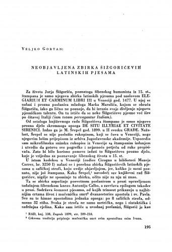 Neobjavljena zbirka Šižgorićevih latinskih pjesama / Juraj Šižgorić ; priredio Veljko Gortan