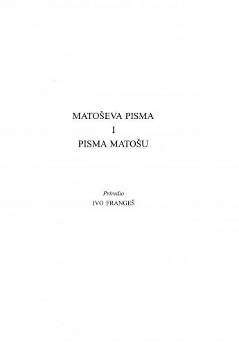 Matoševa pisma i pisma Matošu