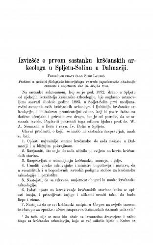 Izviešće o prvom sastanku kršćanskih arkeologa u Spljetu-Solinu u Dalmaciji