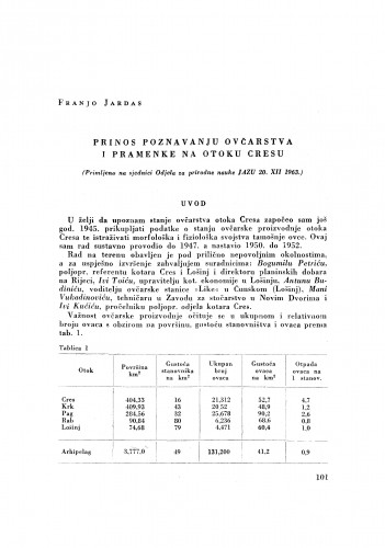 Prilog poznavanju ovčarstva i pramenke na otoku Cresu