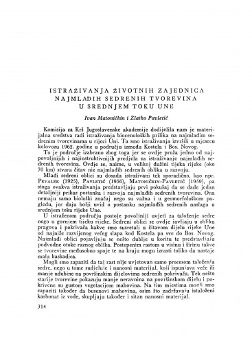 Istraživanja životnih zajednica najmlađih sedrenih tvorevina u srednjem toku Une / I. Matoničkin i Z. Pavletić