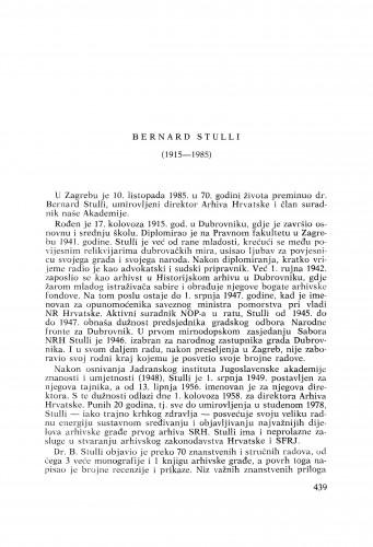 Bernard Stulli (1915-1985) : [nekrolozi] / Hodimir Sirotković