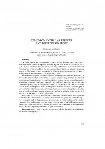 Temporomandibular injuries and disorders in sport