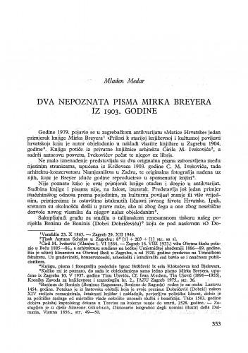 Dva nepoznata pisma Mirka Breyera iz 1903. godine / Mladen Medar
