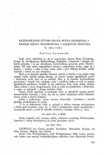 Razgrabljene stvari grofa Petra Zrinskoga i Franje Krsta Frankopana i njihovih pristaša g. 1670-1671. / Emilije Laszowski