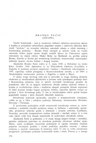 Branko Fučić (1920.-1999.) / Andre Mohorovičić