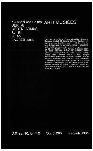 God. 16(1985), br. 1-2 : Arti musices