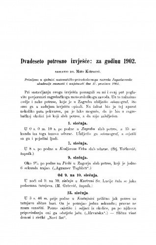 Dvadeseto potresno izvješće: za godinu 1901.