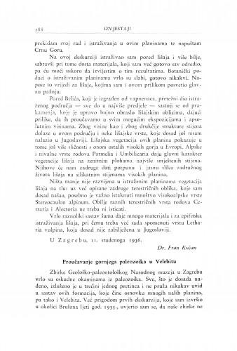 Proučavanje gornjeg paleozoika u Velebitu / M. Salopek