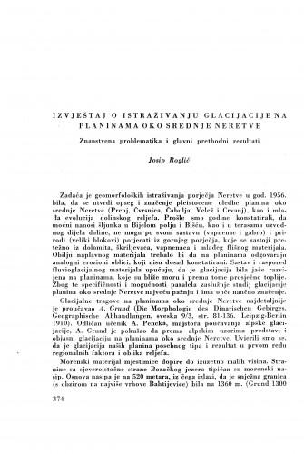 Izvještaj o istraživanju glacijacije na planinama oko srednje Neretve / J. Roglić