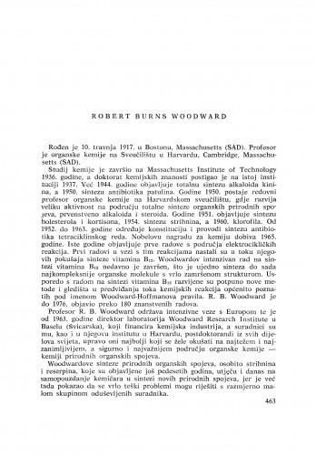 Robert Burns Woodward : [biografije novih članova Akademije] ; [biografije novih članova Akademije] ; [biografije novih članova Akademije]