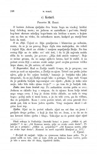 Kotari : što narod priča o božanstvu i o svecima; što baje i što radi u ovo ili u ono doba godine (nar. koledar) : Zbornik za narodni život i običaje