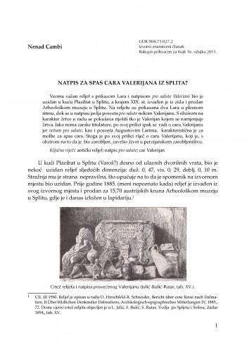 Natpis za spas cara Valerijana iz Splita? : RAD