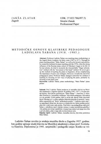 Metodičke osnove klavirske pedagogije Ladislava Šabana (1918.-1985.)