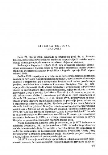 Biserka Belicza (1942.-2005.) : [nekrolog] : Ljetopis