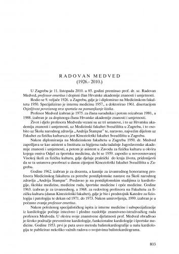 Radovan Medved (1926.-2010.) : nekrolog : Ljetopis