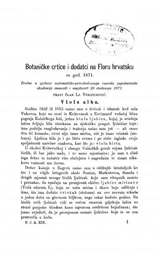 Botaničke crtice i dodatci na Floru hrvatsku za god. 1871 : RAD