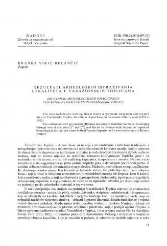 Rezultati arheoloških istraživanja antičkog lokaliteta u Varaždinskim Toplicama. : Radovi Zavoda za znanstveni rad Varaždin