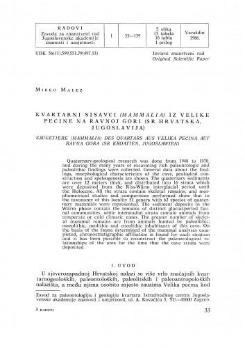 Kvartarni sisavci (Mammalia) iz Velike pećine na Ravnoj gori (SR Hrvatska, Jugoslavija) : Radovi Zavoda za znanstveni rad Varaždin
