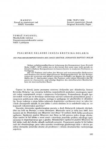 Psalmske skladbe Janeza Krstnika Dolarja : Radovi Zavoda za znanstveni rad Varaždin