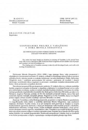 Gospodarske prilike u Varaždinu u doba Metela Ožegovića : Radovi Zavoda za znanstveni rad Varaždin