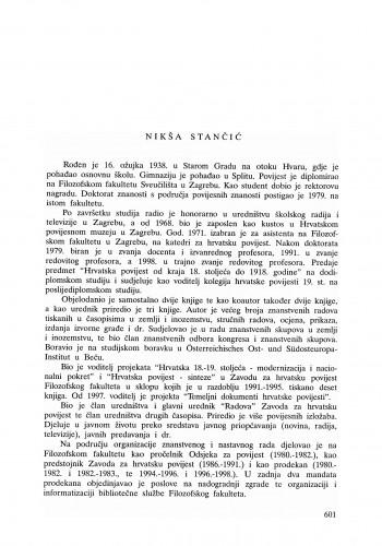 Nikša Stančić : Ljetopis