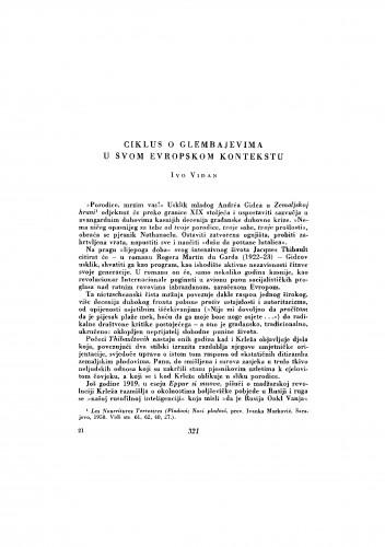 Ciklus o Glembajevima u svom evropskom kontekstu
