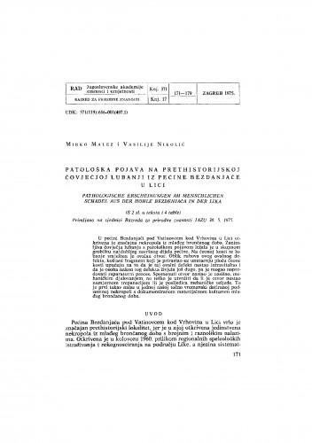 Patološka pojava na prethistorijskoj čovječjoj lubanji iz pećine Bezdanjače u Lici