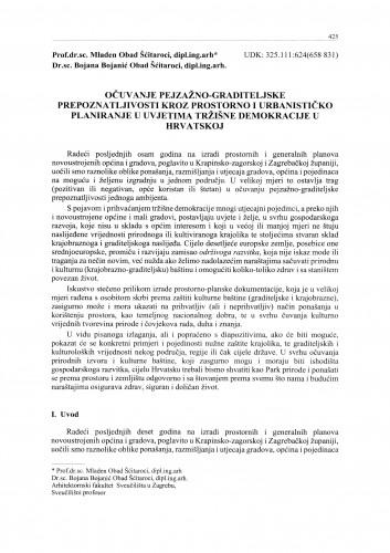 Očuvanje pejzažno-graditeljske prepoznatljivosti kroz prostorno i urbanističko planiranje u uvjetima tržišne demokracije u Hrvatskoj